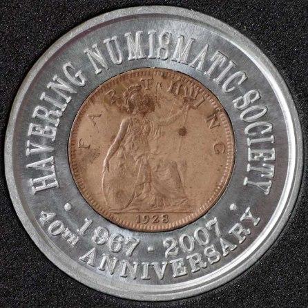 1928 George V Encased Farthing Havering Numismatic Society Rev