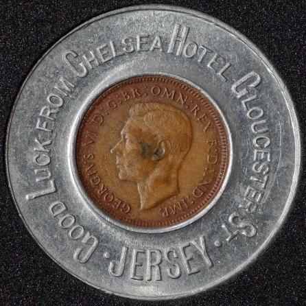 1943 George VI Encased Farthing Chelsea Hotel Obv