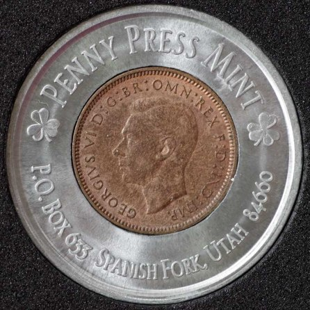 1939 George VI Encased Farthing Havering Numismatic Society Obv