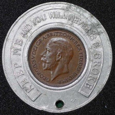 1934 George V Encased Farthing Hooper Struves Obv 3rd Holed