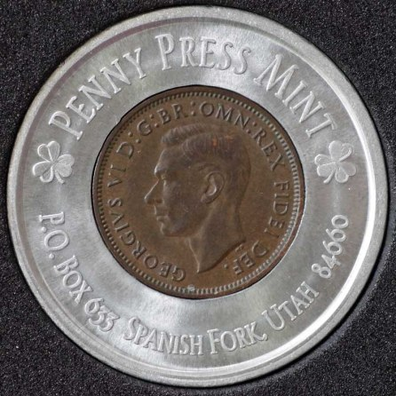 1951 George VI Encased Farthing Havering Numismatic Society Obv