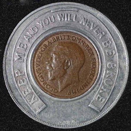 1921 George V Encased Farthing Hooper Struves Obv
