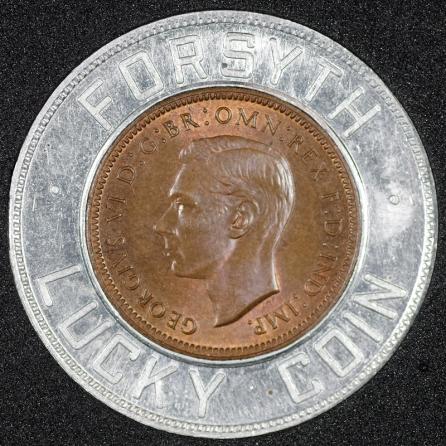 1945 George VI Encased Farthing Forsyth Obv