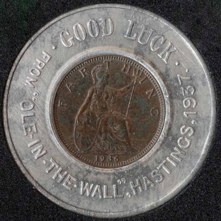 1936 George V Encased Farthing Ole In The Wall Rev