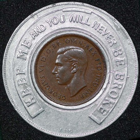 1938 George VI Encased Farthing Hooper Struves Obv