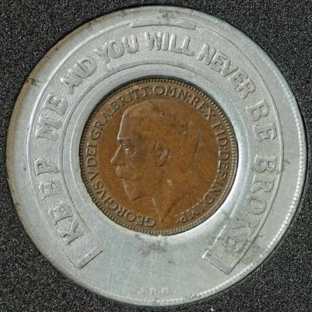 1925 George V Encased Farthing Speedwell Gear Case Col Obv