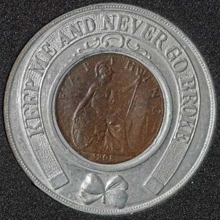 1908 Edward VII Encased Farthing Crockers Drapery Exhibition Rev