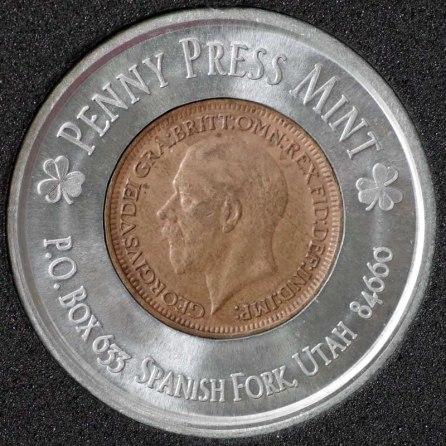 1928 George V Encased Farthing Havering Numismatic Society Obv