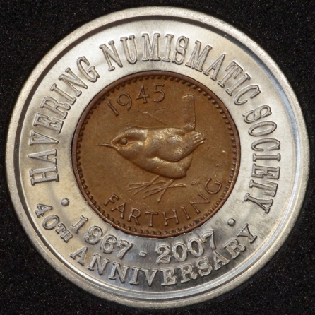 1945 George VI Encased Farthing Havering Numismatic Society Rev