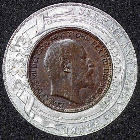 1902 Edward VII Encased Farthing Mc Millan Obv