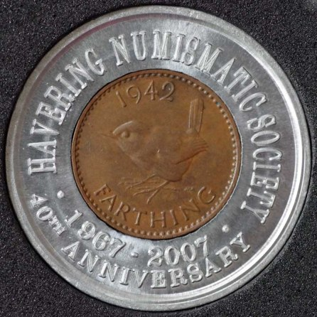 1942 George VI Encased Farthing Havering Numismatic Society Rev