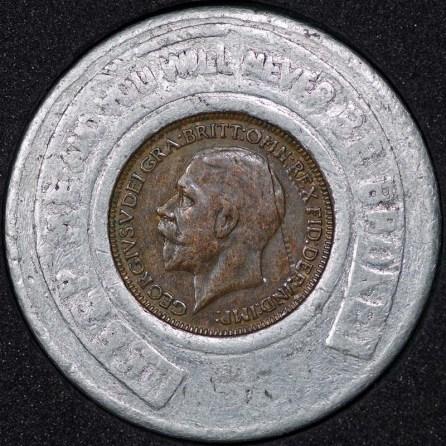 1927 George V Encased Farthing Hooper Struves Obv
