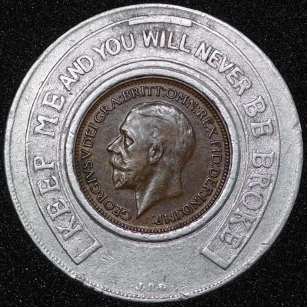 1928 George V Encased Farthing Hooper Struves Obv
