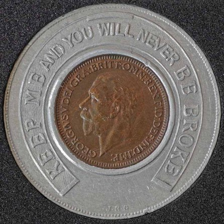 1934 George V Encased Farthing Hooper Struves Obv 4th