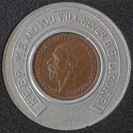 1934 George V Encased Farthing Hooper Struves Obv 4th