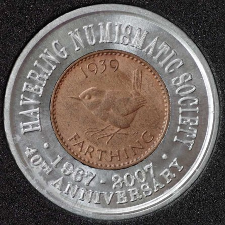 1939 George VI Encased Farthing Havering Numismatic Society Rev