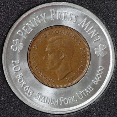 1946 George VI Encased Farthing Havering Numismatic Society Obv