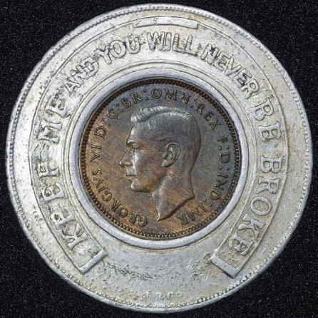 1937 George VI Encased Farthing Grand Garage Morecambe Ltd Obv