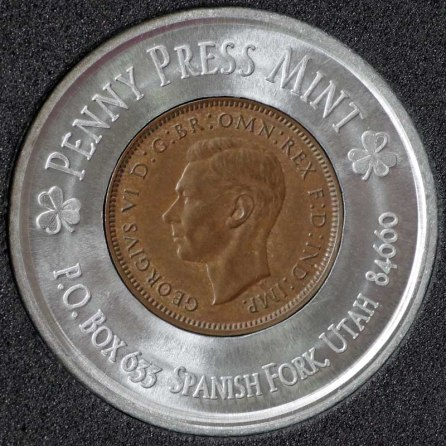 1947 George VI Encased Farthing Havering Numismatic Society Obv