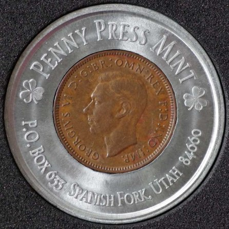 1944 George VI Encased Farthing Havering Numismatic Society Obv