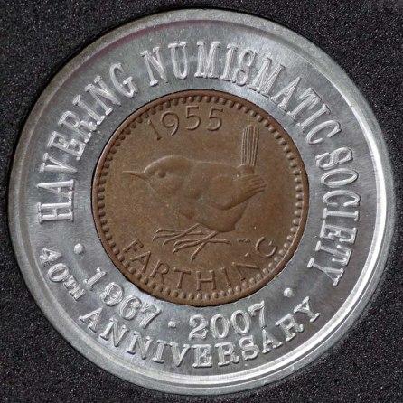 1955 Elizabeth II Encased Farthing Havering Numismatic Society Rev