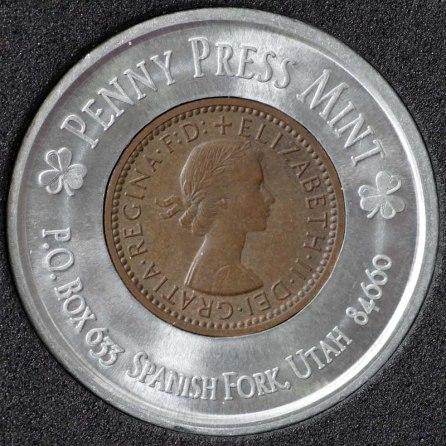 1955 Elizabeth II Encased Farthing Havering Numismatic Society Obv