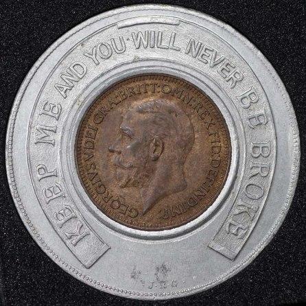 1934 George V Encased Farthing Hooper Struves Obv 1st