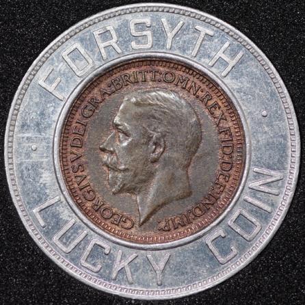 1931 George V Encased Farthing Forsyth Obv