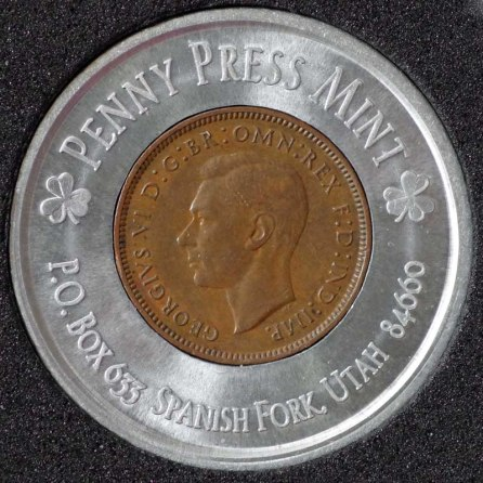 1942 George VI Encased Farthing Havering Numismatic Society Obv