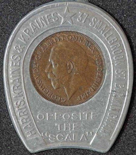 1924 George V Encased Farthing Harris Kraines & Kraines 2 Obv