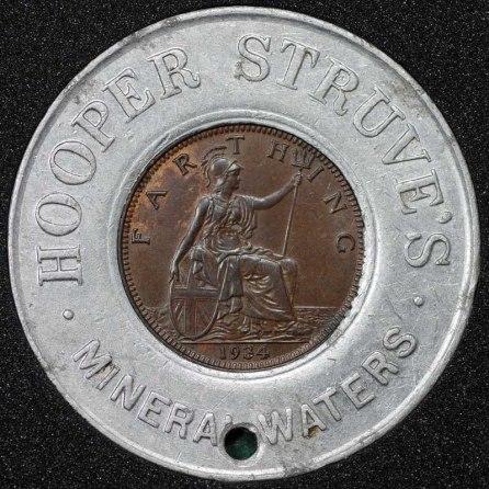 1934 George V Encased Farthing Hooper Struves Rev 3rd Holed