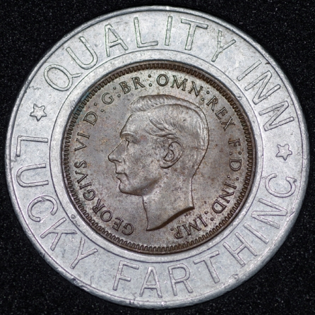 1938 George VI Encased Farthing Quality Inn Obv