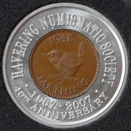 1946 George VI Encased Farthing Havering Numismatic Society Rev