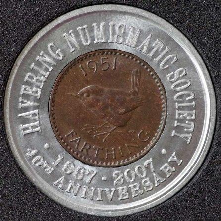 1951 George VI Encased Farthing Havering Numismatic Society Rev