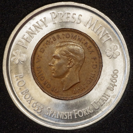 1945 George VI Encased Farthing Havering Numismatic Society Obv