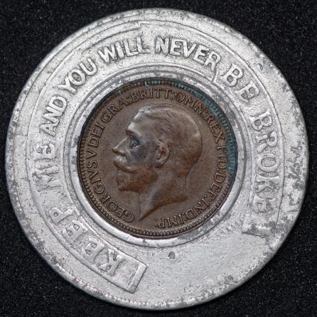 1927 George V Encased Farthing Hooper Struves 01 Obv