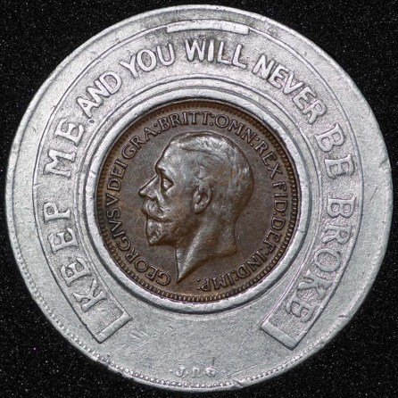 1928 George V Encased Farthing Hooper Struves Obv