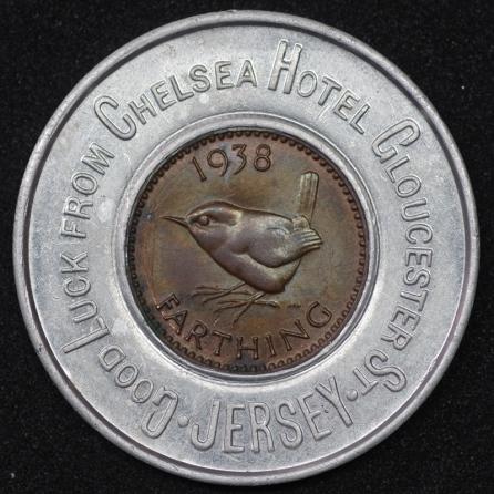 1938 George VI Encased Farthing Chelsea Hotel 1 Rev