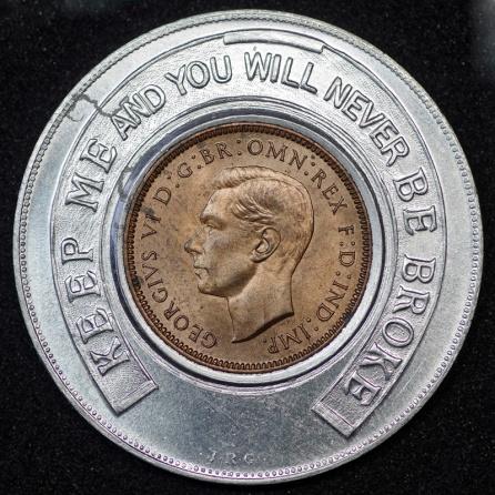 1939 George VI Encased Farthing Hooper Struves 01 Obv