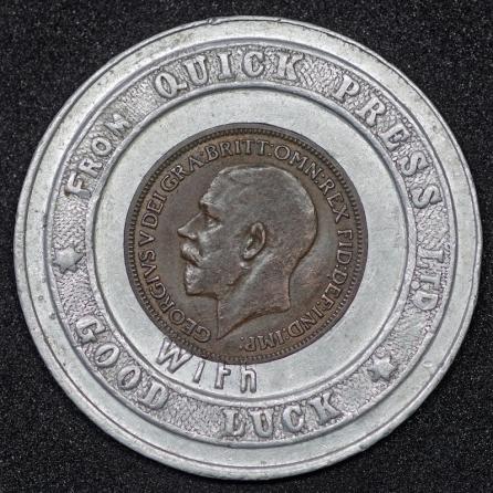 1924 George V Encased Farthing Quick Press Obv