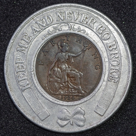 1924 George V Encased Farthing Quick Press Rev