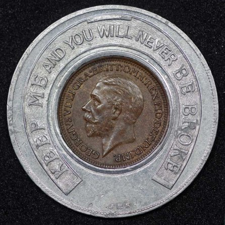 1929 George V Encased Farthing Hooper Struves Obv