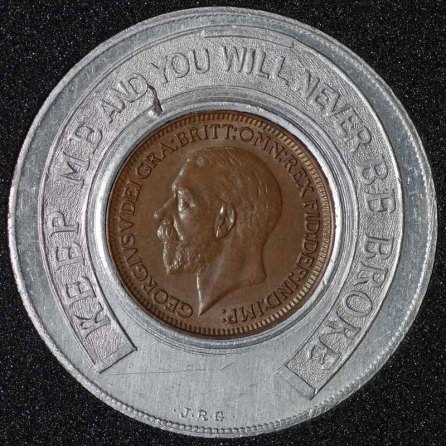 1930 George V Encased Farthing Rickinsons 2 Obv