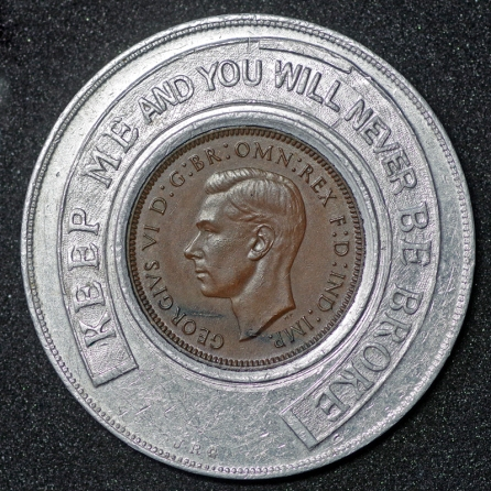 1937 George VI Encased Farthing Grand Garage Morecambe Ltd Obv 1st