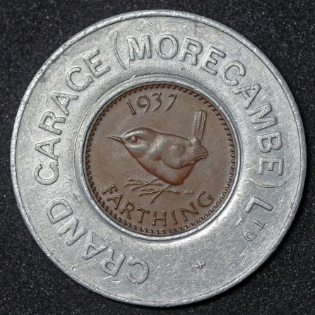 1937 George VI Encased Farthing Grand Garage Morecambe Ltd Rev 1st