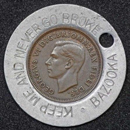 1950 George VI Encased Farthing Bazooka Obv