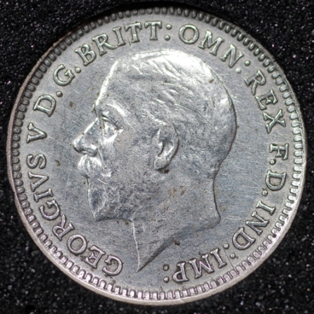 1926 George V Silver Threepence Obv