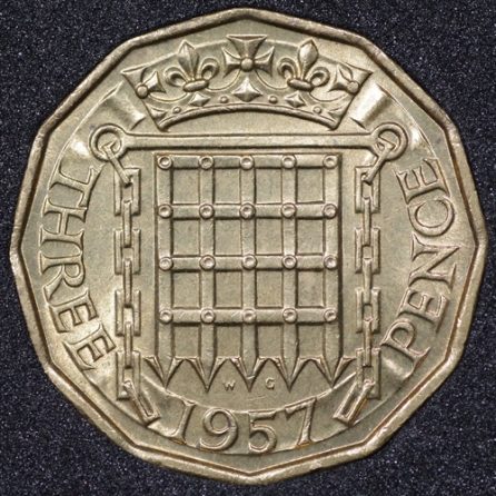 1957 Threepence Rev