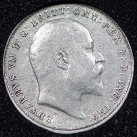 1907 Edward VII Silver Threepence Obv