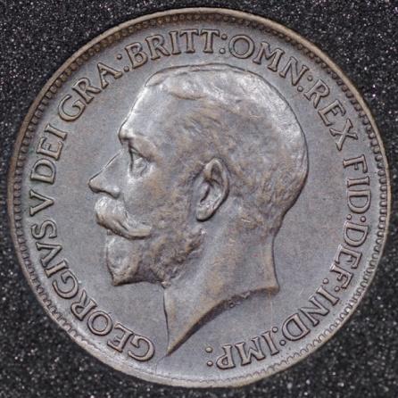 1911 George V Farthing DARKENED Obv